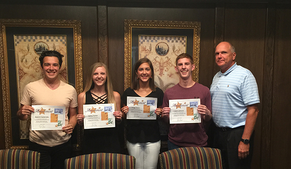 Photo of 2019 Donald G. Smith Scholarship Recipients from left to right: Natalio C., Kailey F., Paige E., Caleb L. and MilWay CEO Allen Brown.